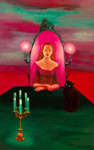 priesteres met kat van