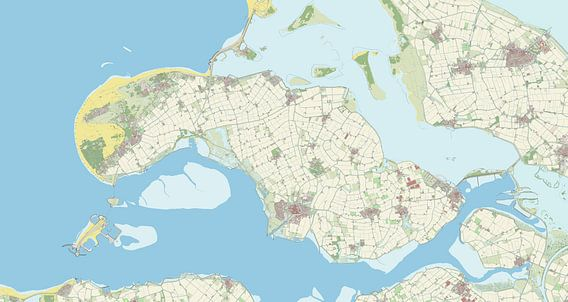 Kaart vanSchouwen-Duiveland van Rebel Ontwerp