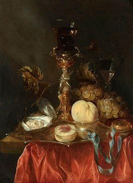 Stilleben mit Silber vergoldet Bekerschroef mit Roemer, Abraham Hendricksz. van Beyeren