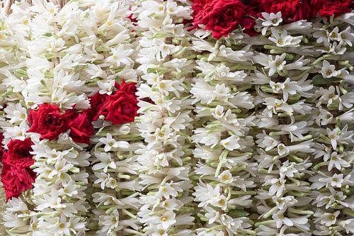 Bloemenslingers van rode rozen en witte jasmijn van
