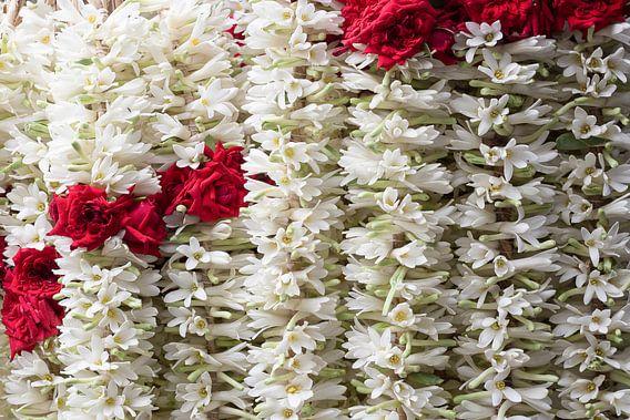 Bloemenslingers van rode rozen en witte jasmijn
