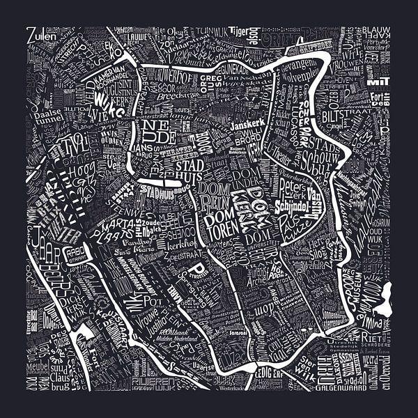 Plattegrond Utrecht in woorden: Uniek beeld van De Domstad van Nederland:  van Muurbabbels Typographic Design