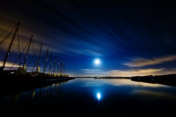 maan + jupiter boven Nieuwkoopse plassen van Thomas Spaans