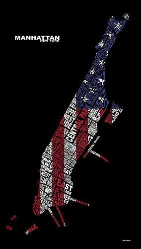 Manhattan (New York) Textmap (vlag) von Marcel Kerdijk