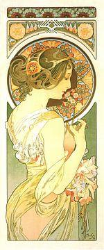 Stijlvol Schilderij Dame Lady Vrouw - Art Nouveau Schilderij Mucha Jugendstil von