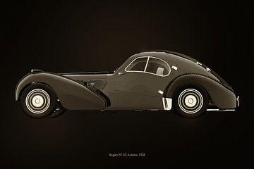Bugatti 57-SC Atlantic uit 1938 B&W versie van Jan Keteleer
