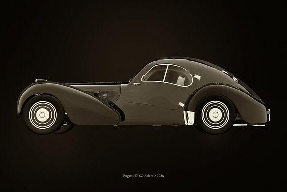 Bugatti 57-SC Atlantic uit 1938 B&W versie