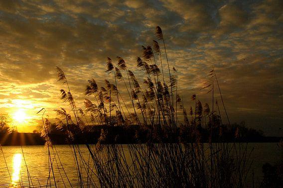 Zonsondergang boven de Oude IJssel in de Achterhoek van Arno Wolsink