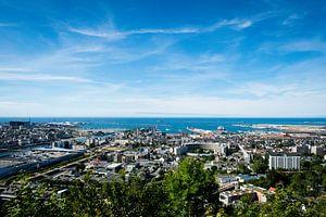 Een uitzicht over Cherbourg van