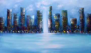 Blue Skyline sur Gena Theheartofart