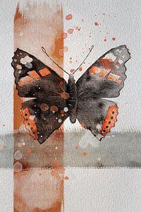 Aquarell eines Atalanta-Schmetterlings von Wanddecoratie