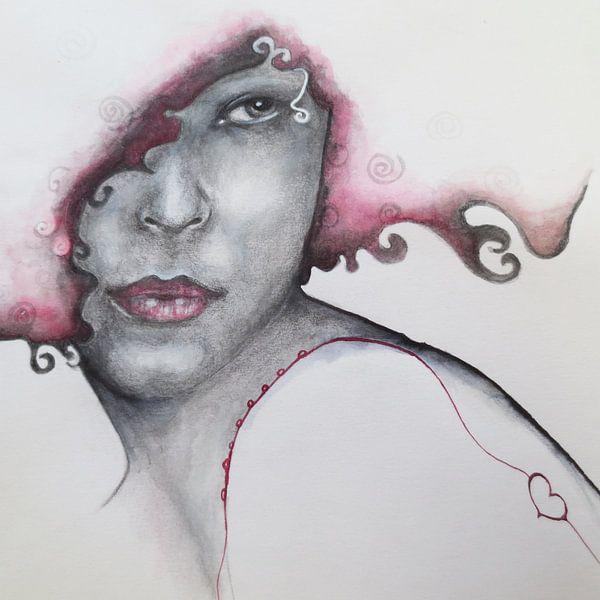 Rode liefde (vergroting) van Helma van der Zwan