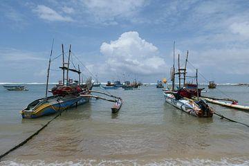 Vissersboten  in Sri Lanka van Annelies van der Vliet