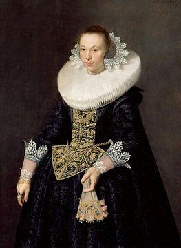 Portret van een vrouw, Nicolaes Eliasz. Pickenoy - 17e eeuw