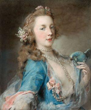 Junge Frau mit einem Papagei, Rosalba Carriera