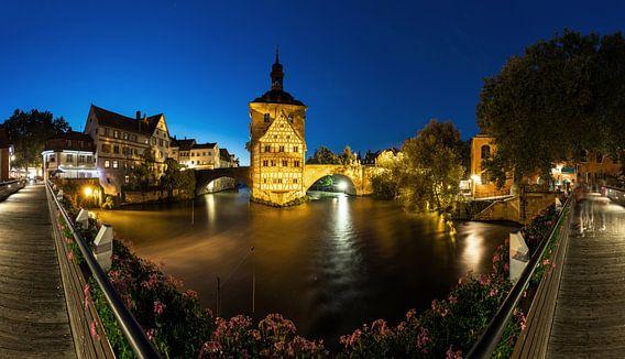 Bamberg - Oude Stadhuis Panorama op blauw uur
