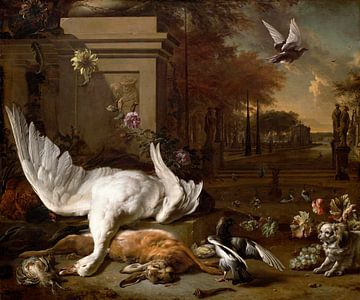 Stilleven met zwaan en wild voor een landgoed, Jan Weenix