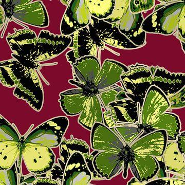 GRAFISCHE PRINT VLINDERS 3 van Marijke Mulder