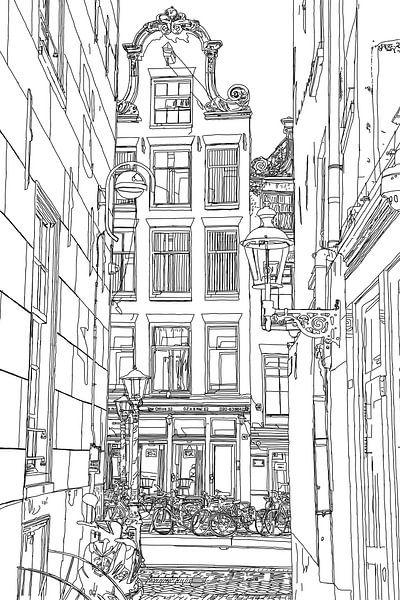 Tekening De Wallen Amsterdam Nederland  Pentekening Lijntekening van Hendrik-Jan Kornelis