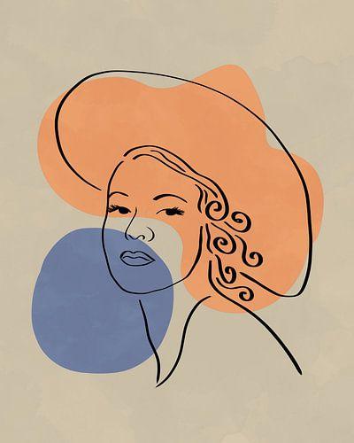 Minimalistisch lijntekening van een vrouwelijk gezicht met hoed en twee organische vormen