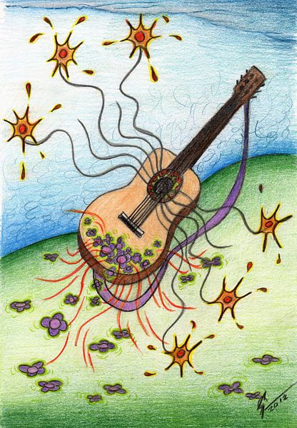 Kleurrijke fantasie tekening van een spaanse gitaar van Gabi Gaasenbeek
