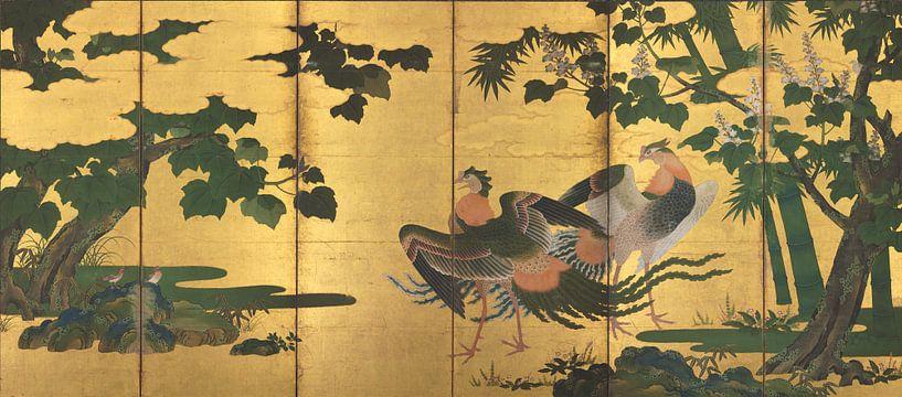 Tosa Mitsuyoshi - Peafowl und Phönixe von 1000 Schilderijen