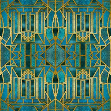 Art Deco Turquoise Goud van Andrea Haase