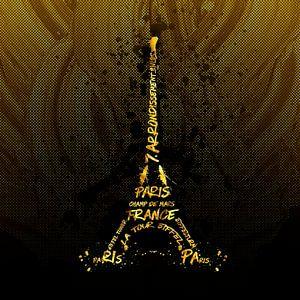 Digital Art Eiffeltoren | gouden vlammen