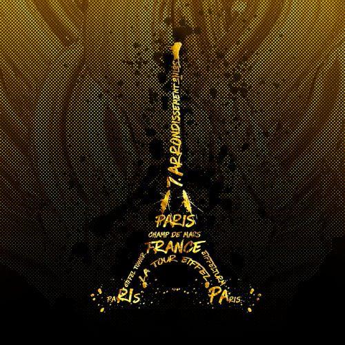 Digital Art Eiffeltoren | gouden vlammen van Melanie Viola