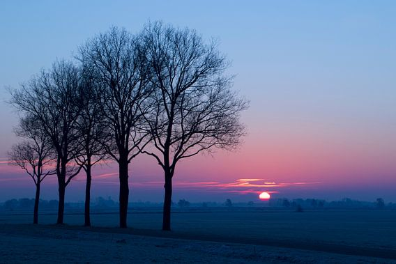 Zonsopgang in Steenwijkerwold van Hilde van den Berg