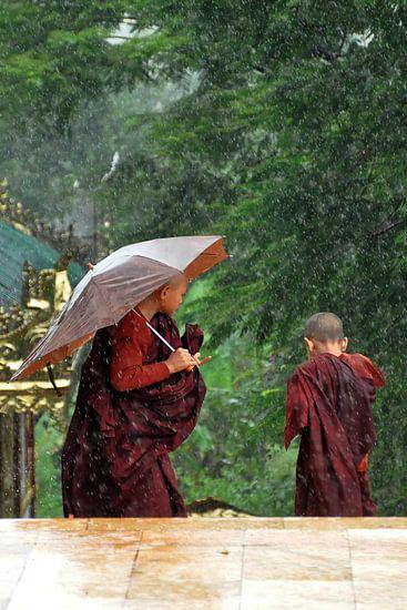 Monniken overvallen door regenbui