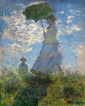 Frau mit einem Sonnenschirm - Madame Monet und ihr Sohn, Claude Monet von
