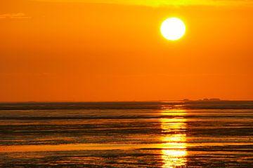 Hallig im Sonnenuntergang van Annette Sturm