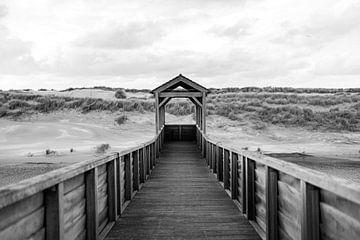 Brücke mit schönen Dünen. Schwarz-Weiß-Fotografie von Frank van Hulst