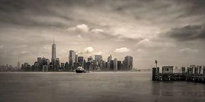 Manhattan skyline gezien vanaf Ellis Island