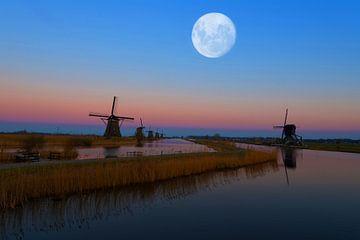 Maan boven de Kinderdijk. van