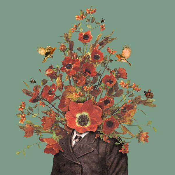 Portret met bloemen, hommels, roodborstjes en een vlinder (groene achtergrond) van toon joosen