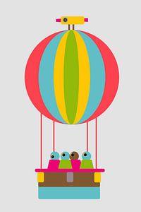 Luchtballon met vogel