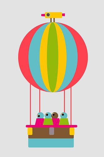 Luftballon mit Vogel von Joost Hogervorst