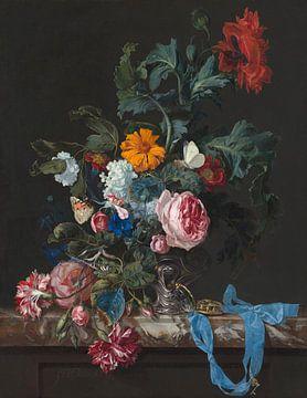 Blumenstillleben mit Uhr, Willem van Aelst