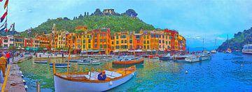 Panorama Portofino Italië van Dirk van der Ven