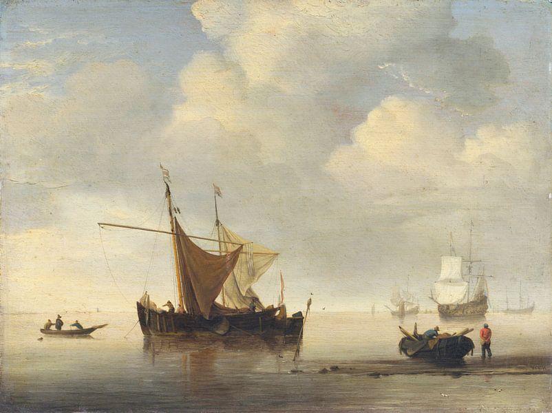 Ruhig: Zwei niederländische Schiffe, Studio von Willem van de Velde von Meesterlijcke Meesters