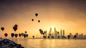 Dubai Skyline van Martijn Kort