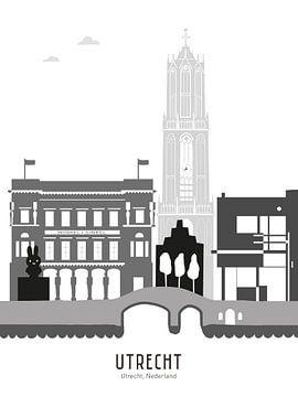 Skyline-Illustration Stadt Utrecht schwarz-weiß-grau von Mevrouw Emmer