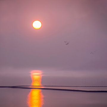 Sonnenaufgang über dem Watt, den Niederlanden von Rietje Bulthuis