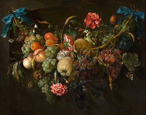 Krans van fruit en bloemen