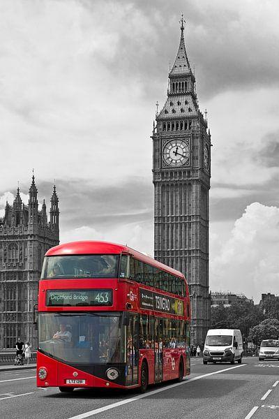 Londen bus met Big Ben van Anton de Zeeuw
