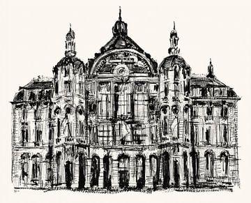 Tekening van Centraal Station Antwerpen van ART Eva Maria