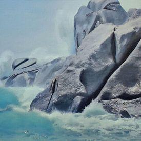 Natuur - Branding bij Rotsachtige Kust met Wilde Golven - Sardinië - Capo Testa - Schilderij van Schildersatelier van der Ven