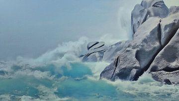 Natur - Felsenbrandung mit wilden Wellen - Sardinien - Capo Testa - Gemälde von Schildersatelier van der Ven